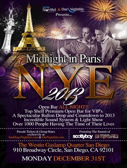 Promotional graphic for the Midnight in Paris New Year's Eve 2013 at the Westin San Diego Gaslamp Quarter. Courtesy of Westin San Diego Gaslamp Quarter.