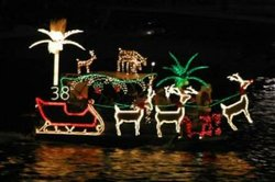 Image of a boat participating in Mission Bay Christmas Boat Parade Of Lights 2011.