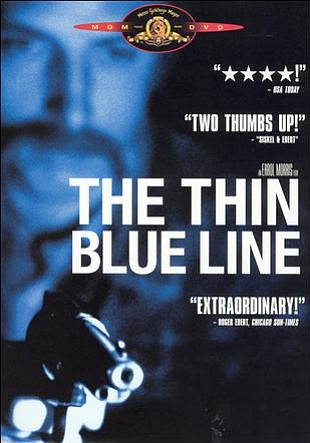 "Promotional graphic for the documentary, ""The Thin Blue Line (1988)"" that will be screening at the San Diego Central Library on September 21st."