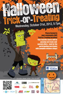 Promotional graphic for Trick-or-Treating at Piazza Carmel, October 31, 2012 from 5 p.m. to 7 p.m.