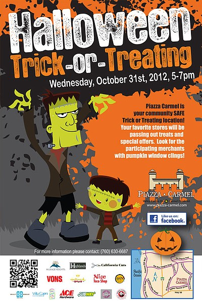 Promotional graphic for Trick-or-Treating at Piazza Carme...
