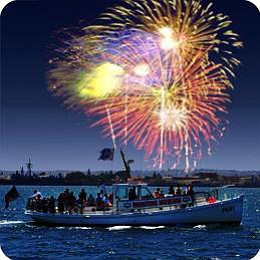 Promotional image of fireworks aboard the Pilot.