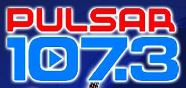 Graphic logo for Pulsar 107.3 fm Latino radio station