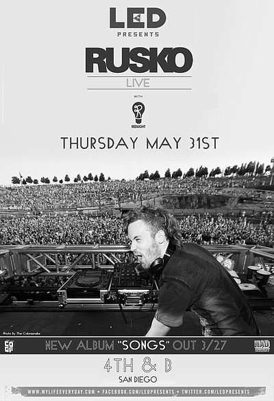 Promotional graphic of Rusko presented by LED performing at 4th&B