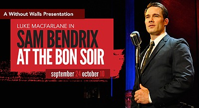 "Promotional graphic for the Luke Macfarlane In ""Sam Bendrix At The Bon Soir"" performing at Martinis Above Fourth from September 24 - October 10, 2012."