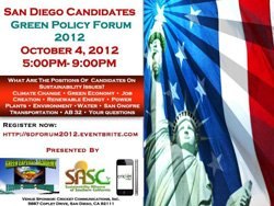 Promotional image for San Diego Candidates Green Policy Forum 2012.