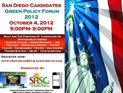 Promotional image for San Diego Candidates Green Policy F...