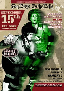 Promotional image for San Diego Derby Dolls Vs. Kansas City Banked Beauties on September 15th at 6 pm.