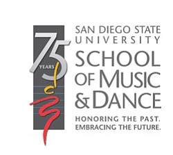 "Graphic logo for San Diego State's School of Music and Dance, 75th Anniversary ""Honoring The Past. Embracing The Future."""