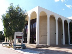 Exterior image of the School of Theatre, Television, and Film located on the San Diego State University campus