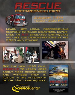 Promotional graphic for the Search and Rescue Expo at Reuben H. Fleet Science Center.