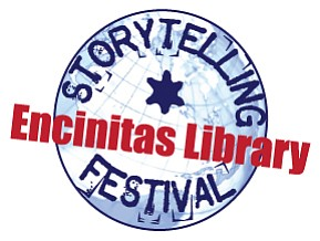Graphic logo for the Storytelling Festival at Encinitas Library.