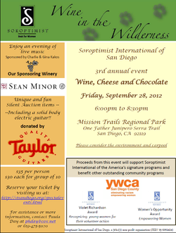 """Promotional graphic for """"Wine In The Wilderness"""" taking place on September 28th at the Mission Trails Regional Park. Courtesy of Soroptimist International of San Diego."""