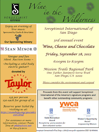 "Promotional graphic for ""Wine In The Wilderness"" taking place on September 28th at the Mission Trails Regional Park. Courtesy of Soroptimist International of San Diego."