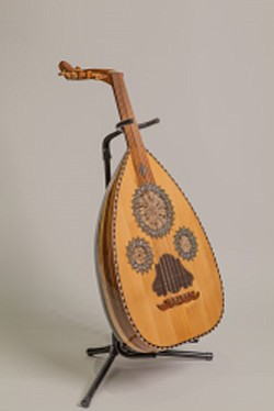 Promotional image of string instrument from Egypt. Image provided by Mingei International Museum.