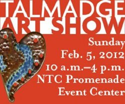 Promotional graphic for the Talmadge Art Show on February 5, 2012.