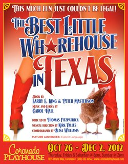 Promotional graphic for the Fan Drive for The Best Little Whorehouse in Texas at the Coronado Playhouse.