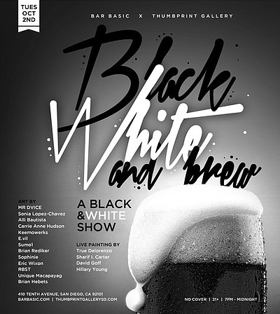 "Promotional graphic for ""Black, White and Brew"" Group Art Exhibition taking place at Bar BASIC on October 2nd, 2012."