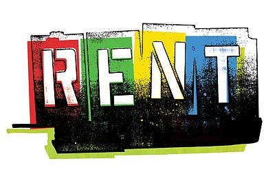 "Promotional graphic for the performance of ""Rent"" at the Lyceum Theater in Horton Plaza from December 29, 2012 through January 6, 2013."