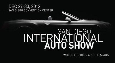Promotional graphic for the San Diego International Auto Show taking place on December 27-30, 2012.