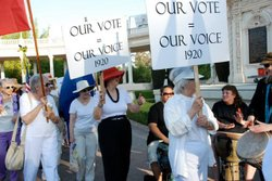 Promotional image for the Women's Equality Month Suffrage Parade.
