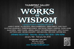 "Promotional graphic for Thumbprint Gallery's ""Works of Wisdom."""