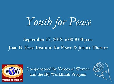 Promotional graphic for the Youth For Peace event on September 17th, 2012.