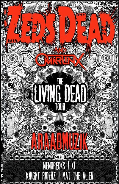 Promotional graphic of ZEDS DEAD and ARAABMUZIK presented by LED performing at 4th&B