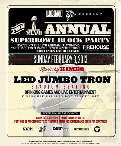 Promotional graphic for the Super Bowl Party at the Firehouse in Pacific Beach. Courtesy of the Firehouse.