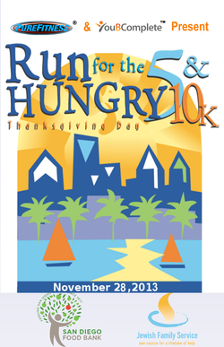 Promotional graphic for the Run For The Hungry 5K/10K taking place Thanksgiving Day, November 28th, 2013.