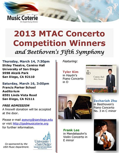 Promotional graphic for the MTAC Concerto Winners Concert on Thursday, March 14 & Saturday, March 16, 2013. Photo courtesy of Dr. Angela Yeung