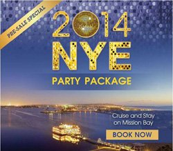 Promotional graphic for the 2014 Bahia Resort New Year's Party Package. Courtesy of Bahia Resort.