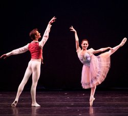 """YAGP participants, Hannah Bettes and Drew Nelson performing at YAGP's """"Ballet Grand Prix"""" Tour in New Bedford, MA. Photo by Liza Voll Photography."""