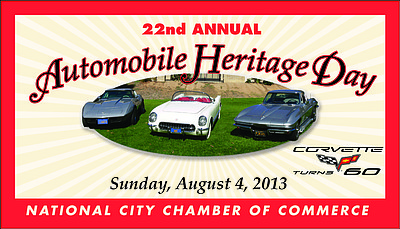 Promotional graphic for the 22nd Annual National City Automobile Heritage Day Car Show on August 4th, 2013.