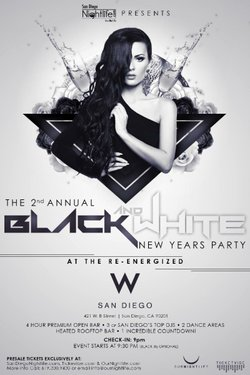 Promotional flyer for 2nd Annual 2014 Black & White New Years Party. Courtesy of W San Diego.
