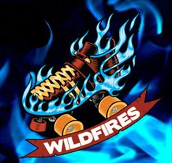 "Promotional graphic for San Diego Derby Dolls All-Star Team ""Wildfires."""