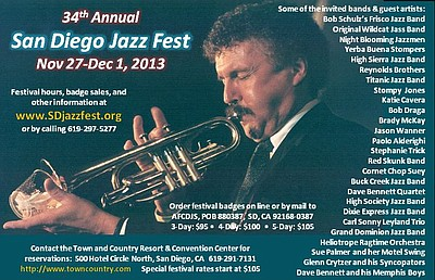 Promotional graphic for the 34th Annual San Diego Jazz Festival taking place on November 27th - December 1st, 2013.