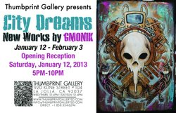 Promotional graphic for the City Dreams exhibit at the Thumbprint Gallery on display January 12th from 5-10pm.