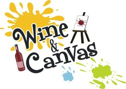 Promotional graphic for Wine & Canvas San Diego.