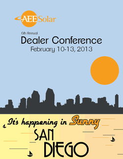 Promotional graphic for the 6th Annual AEE Solar Dealer Conference on February 10th, 2013. Courtesy of AEE Solar.