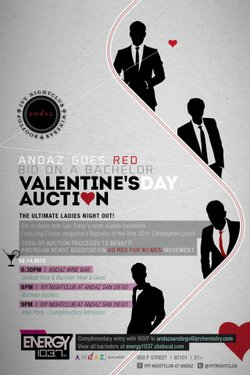 Promotional graphic for Andaz Goes Red: Bachelor Auction to benefit The AmericaHeart Association Go Red Campaign. Courtesy of Andaz San Diego.
