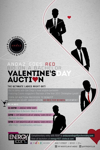 Promotional graphic for Andaz Goes Red: Bachelor Auction ...