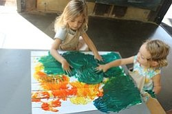"Image from a previous ""Finger Painting Friday"" at The New Children's Museum. Courtesy of the New Children's Museum."