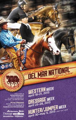 Promotional image of 68th Annual Del Mar National Horse Show from April 18- May 5, 2013.