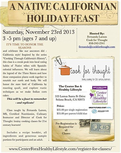 Promotional graphic for A Native Californian Holiday Feast on November 23rd, 2013.
