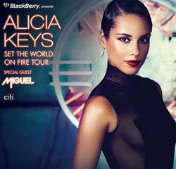 """Promotional image of Alica Keys """"Set the World on Fire"""" tour coming to San Diego March 13."""