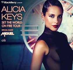 "Promotional image of Alica Keys ""Set the World on Fire"" tour coming to San Diego March 13."