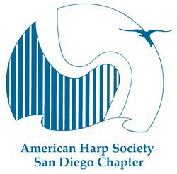 Graphic logo for The San Diego Chapter of the American Harp Society.