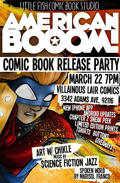 Promotional graphic for the American BOOOM Comic Book Release Party on March 22nd, 2013.