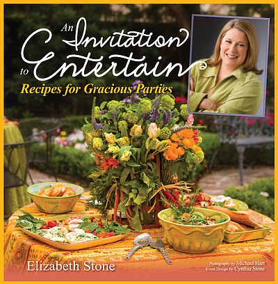 "Graphic image of the book cover for ""An Invitation to Entertain,"" by Elizabeth Stone. Courtesy of Bright Sky Press."